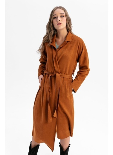 Tiffany&Tomato Ceket Yaka Beli Kuşaklı Uzun Süet Trençkot-Siyah Camel